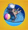 cartoon child swimming in the pool with a ball vector image
