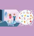 family horizontal banner wash cartoon style vector image