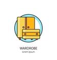 Wardrobe wood furniture logotype design templates vector image