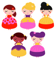Little colorful princes set isolated on white vector image