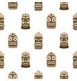 wooden tiki mask seamless pattern vector image