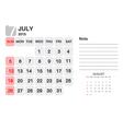 Calendar july 2015 vector image vector image