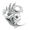 poppy flower engraving vector image
