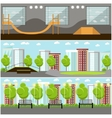 Set of skate park banners Outdoor and vector image