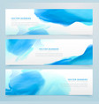 Blue ink watercolor banners set vector image