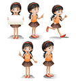 Five different positions of a girl vector image