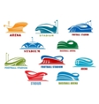 Stadiums and sport arenas abstract icons vector image