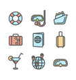 summer vacation colored icons set 04 vector image