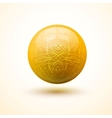 Yellow glossy sphere with pattern vector image