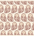 seamless pattern made of anatomic hearts vector image