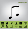 music sign   black icon at vector image