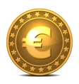 Gold coin with euro sign vector image vector image