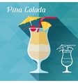 with glass of pina colada in flat design style vector image vector image