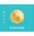 bitcoin exchange icon on the digital blue vector image