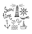 Sea and Boat Hand-drawn Doodles vector image