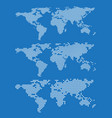 set of world map outlines on a blue background vector image