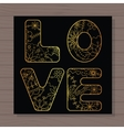 Golden love card on wooden background vector image vector image