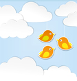 Paper clouds with birds vector