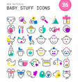 Baby stuff linear icons collection vector image