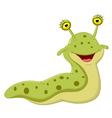 Cute slug cartoon vector image