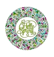 Stylized wreath with doodle flowers Round floral vector image
