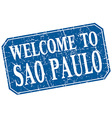 welcome to Sao Paulo blue square grunge stamp vector image
