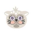 cute gray cat head funny cartoon animal character vector image