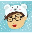 Man with Polar Bear Hat vector image