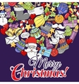 Merry christmas set of xmas colorful pattern and vector image