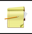 Pencil on notepad and white background vector image