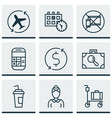 set of 9 transportation icons includes vector image