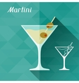 with glass of martini in flat design style vector image