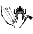 american indian headdress tomahawk and bow vector image vector image