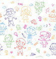 cheerful children seamless pattern painted by vector image