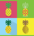 pineapple icons set - different styles of vector image