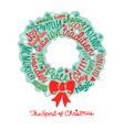Handwritten Christmas wreath card Word Cloud desig vector image vector image