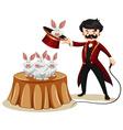 Magician and rabbits at the show vector image