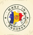 Stamp with map flag of Andorra vector image