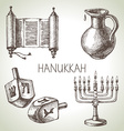 Hand drawn sketch hanukkah elements set israel vector