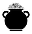 cauldron full gold coins treasure vector image
