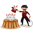 Magician and rabbits at the show vector image