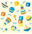 Seamless pattern with basic toys vector image