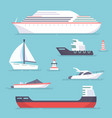 Set of marine ships boats yachts and sailing vector image