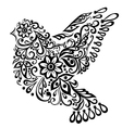 Abstract bird isolated on white hand drawing vector image