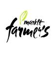 Farmers market hand lettering retro vintage style vector image