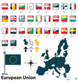 01 European Union with flags vector image vector image