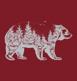 hand drawn of bear silhouette vector image