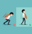 wrong and right carrying position vector image vector image