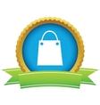 Shopping bag round icon vector image