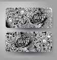 cartoon hand drawn doodles idea banners vector image